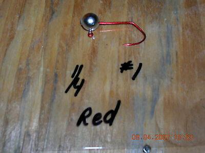 50 1/4 oz Ball Head jigs Matzuo #1 Red Sickle hooks