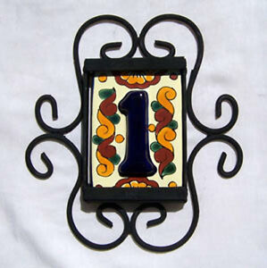 ONE-MEXICAN-TALAVERA-HOUSE-NUMBER-TILE-IRON-FRAME