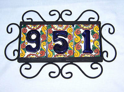 3 HIGH RELIEF  Mexican Ceramic Number Tiles & Horizontal Iron Frame