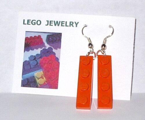 ORANGE  LEGO BLOCK  SILVER EARRINGS IN GIFT BOX