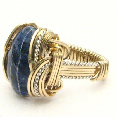 Wire Wrapped Blue Sodalite Two Tone Sterling Silver/14kt Gold Filled Ring
