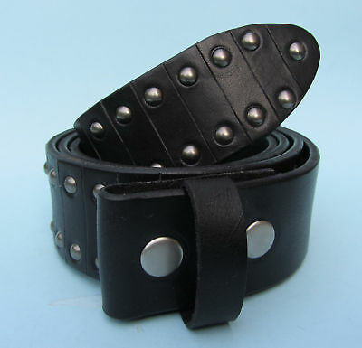 Snap on Leather Belt with Studs Black