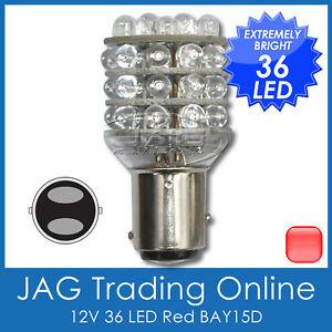 12V-36-LED-BAY15D-RED-1157-STOP-TAIL-GLOBE-Automotive-Trailer-Caravan-Light-Bulb