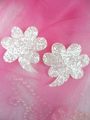 FS739 White Satin Beaded Mirror Pair Appliques~  4000 items in stock! $ave