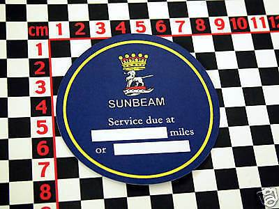 Sunbeam Service Sticker - Alpine Imp Tiger Rapier