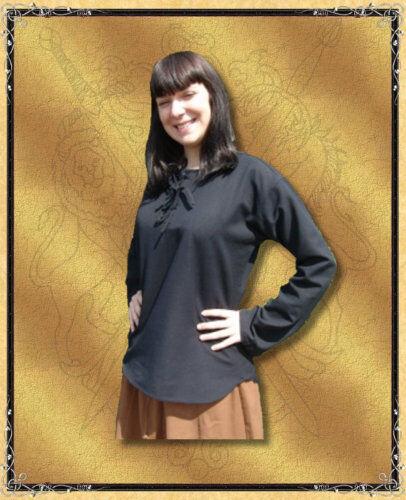 Medioevo Gothic morbide Camicia Top Irene Nero S M L XL XXLXXXL