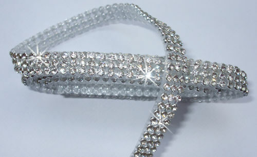 3mm CHATON 3strip CLEAR SILVER iron-on CRYSTAL DIAMANTE TRIM REEL edging craft