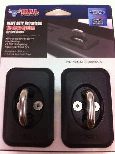 2 NEW OEM 2004-2016 Ford F-150 F-250 Bull Ring Bed Cargo Hooks Tie Down PAIR