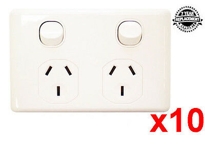 10 X Double Power Points 10A Socket Outlets Gpo Wall Mount With 7 Year Warranty
