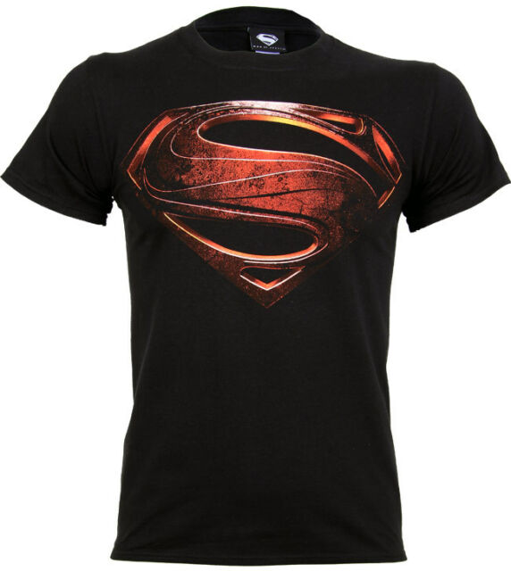 Official Superman Man Of Steel Logo T Shirt  Mens Black S M L XL XXL  Movie