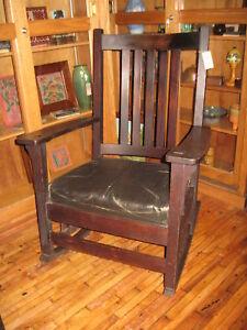 Signed-Charles-Stickley-1540-Mission-Oak-Rocker-All-Original-Rocking-Chair