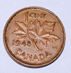 Canada-1948-1-Cent-Copper-Coin-One-Canadian-Penny-Nice