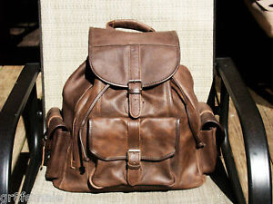 Vtg-Full-Grain-Leather-Backpack-Rucksack-Luggage-Tote-Hiking-Bag-Brown-school