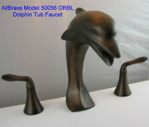 ORB-DOLPHIN-TUB-FAUCET-10-034-TALL-OIL-RUBBED-BRONZE-Matching-Sink-Avail-Free-Ship