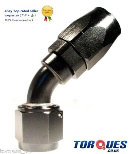 AN -8 ( AN8 ) 45 DEGREE Swivel Seal BLACK Hose Fitting
