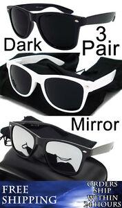 WAYFARER-Sunglasses-WHITE-BLACK-DARK-Lens-amp-BLACK-MIRROR-Vintage-3-PACK-Classic