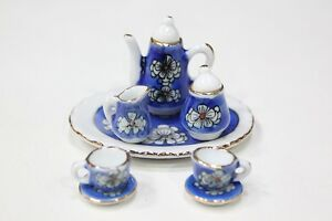 NEW-Dolls-House-Accessories-Miniature-Tea-Set-Blue-White-Flower-1-12th-Scale