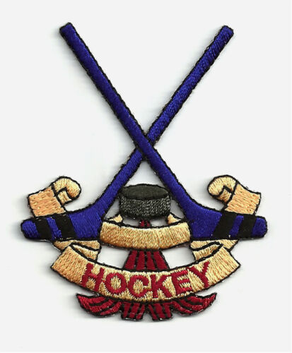 Sports Hockey Hockey Sticks//Puck Fully Embroidered  Iron On Patch