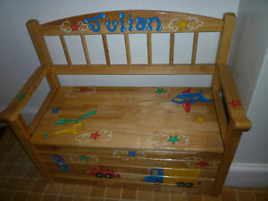 "Personalized ""JULIAN"" Wooden Toy Chest, Clock, Peg Rack 
