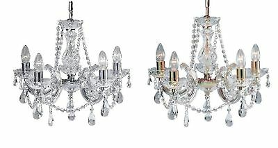 Marie Therese Glass 'Crystal' Chandelier Chrome or Brass - Acrylic Arms.
