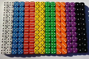20-of-Opaque-Six-Sided-Spot-Dice-size-16mm-D6-RPG-Game-Dice-Wargaming