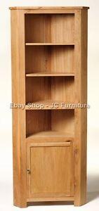 New-Solid-Oak-Tall-Corner-Display-Unit-Cupboard-Cabinet-With-door-shelves