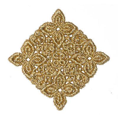 Metallic Gold Venise Lace Square Diamond Sew On Appliques x 2
