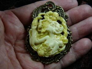 CM154-3-WOMAN-flower-flowers-GARDEN-CAMEO-Pin-Pendant-Jewelry-brooch-necklace