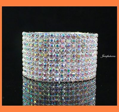 VEGAS AB WHITE AUSTRIAN RHINESTONE CRYSTAL STRETCH BANGLE BRACELET 10 ROW BRIDAL