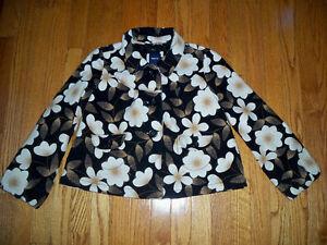 Gap-Girls-Size-XL-12-Black-Floral-Print-Velveteen-Swing-Coat-Jacket