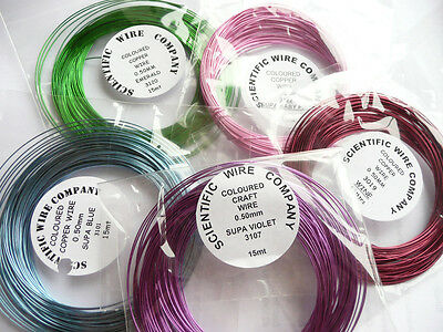 Coloured Copper Craft/Jewellery Wire - 0.50, 0.90 or 1.25mm Coils Choose Colour