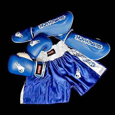 Sidekick Kid Blue Kickboxing Gear Boxing Equipment Muay Thai Set  Gloves Shin