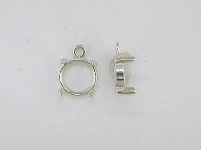 Round 4 Prong Cabochon Dangle Setting Sterling Silver