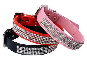Pet-Dog-Cat-PU-Leather-Collar-With-Rhinestone-Black-Blue-Pink-Red-XS-S-M-L