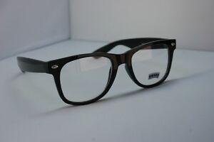 Black-80s-Retro-Clear-Lens-Sun-Glasses-Nerd-Vintage-Dork-Emo