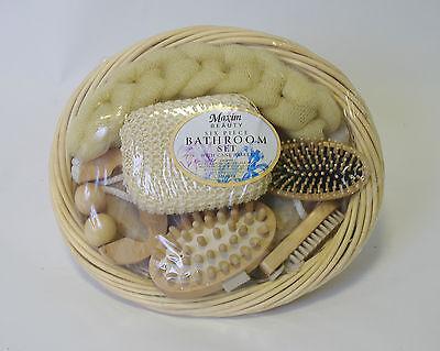 6Pc Bathroom Bath Gift Set Cane Basket Wooden Back Scrub Hair Brush Massager New