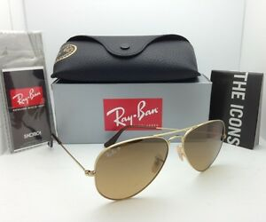 rb3025 58 14 135  Polarized RAY-BAN Sunglasses RB 3025 001/M2 58-14 Gold Aviator w ...