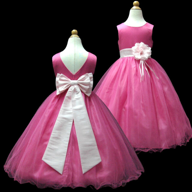 USMD59A Pink Full Length Pageant Wedding Gown Flower Girl Dress 1 to 14 Years