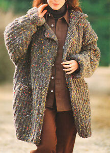 Free Knitting Pattern Chunky Wool Cardigan : Cosy Chunky Loose Fitting Cardigan Size 12/14/16 Knitting Pattern eBay