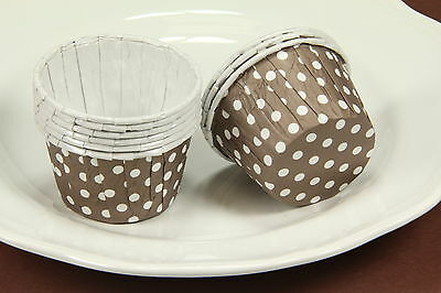 12x Cupcake Liners, Baking Candy Nut Cups, Brown Polka Dot, Small