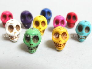 100-Carved-Turquoise-Skull-Beads-10-Colors-N6