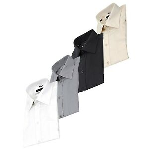 Men-039-s-Business-Dress-Shirt-Spread-Collar-100-Cotton-Shirt-Long-Sleeve-Reg-Cuff