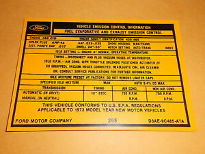 1973-FORD-THUNDERBIRD-460-ENGINE-EMISSIONS-DECAL-D3AE