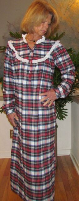 Nightgown Long Cotton Flannel S - 3XL Made in USA Asst Colors/Plaids