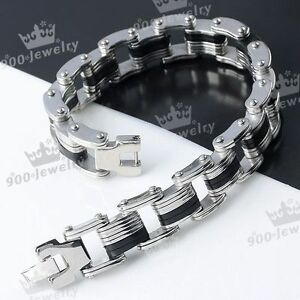 1PC-Mens-Silvery-Stainless-Steel-Locks-Style-Rubber-Bracelet-Wristband-Gift-8-034-L