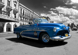 Original-Print-Cuba-Havana-Street-Car-Stunning-Taxi-A3-A4