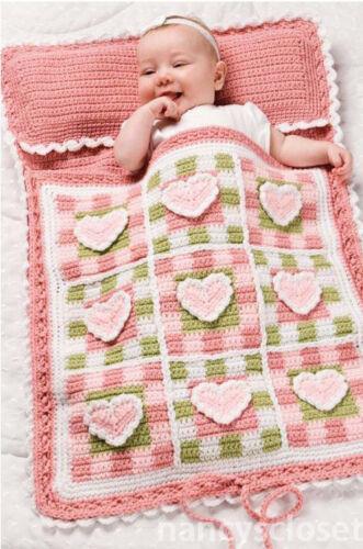 Crochet Pattern Baby Sleeping Bag  Pretty Hearts