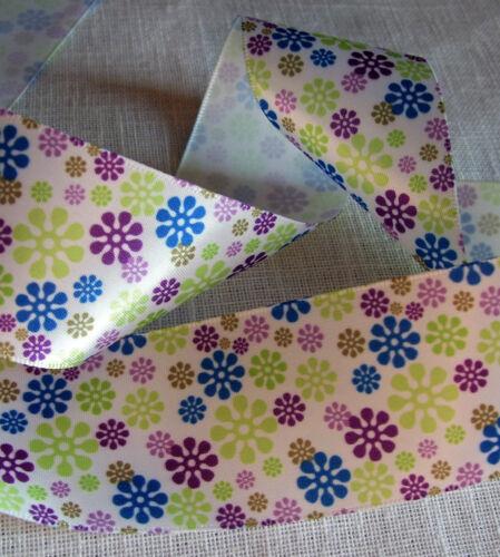 Choix de largueur RUBAN SATIN FLEURS LIBERTY Printemps Bleu Vert Violet