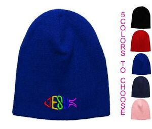 Jesus-Fish-Embroidered-Skull-Cap-Available-in-5-Colors-Beanie-Hat