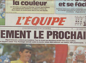 journal l 39 equipe 26 07 93 cyclisme tour de france 1993 indurain vainqueur ebay. Black Bedroom Furniture Sets. Home Design Ideas